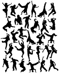 Modern Dancing, Hip Hop and Dance People Silhouettes, art vector design