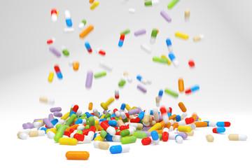 Falling colorful pills - 3D illustration