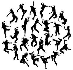 Silhouette Modern Dance, Hip Hop and Street Dancer, art vector design