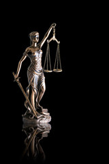 Lady justice or Themis with reflection  isolated on black background