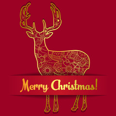 Merry Christmas card on paper with deer