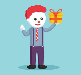 clown hold gift box vector illustration design