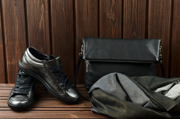 Leather upper metallic womens shoes, scarf and black leather bag