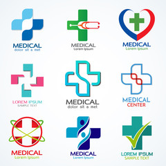 Vector set of medical logo template