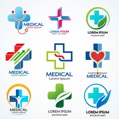 Vector set of medical logo collection template