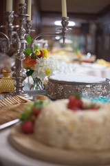 Catered wedding reception with strawberries, chocolate, punch, fruit, nuts, cheese 2
