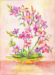 Orchid picture. Bouquet of pink flowers. indoor plant. Figure oi