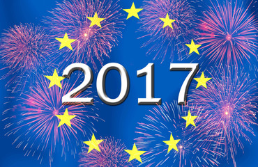 Fireworks and 2017 on the  European Union: flag.Concept Happy Ne