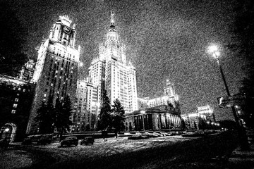 Graphic pencil sketch of Moscow University main building tonight by digital painting