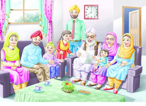 A Sikh family sits on a sofa