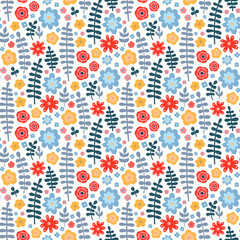 Vector seamless pattern with cute flat flowers and branches. Autumn colors - red, yellow, grey, blue, orange. Nice floral background. On white backdrop.