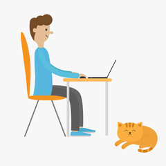 Profile man at desk with leptop. Guy working on computer. Boy sitting on chair table. Sleeping lying cat. Cute cartoon character. Workplase concept. Flat design. Isolated. White background.