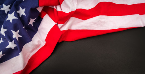 American flag on black background .