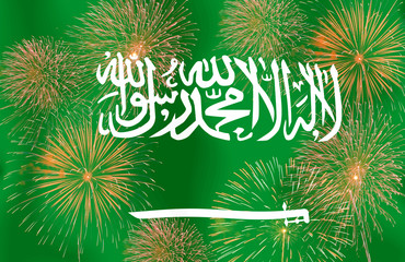 Fireworks on the  Saudi Arabia flag copy space in the middle.Con