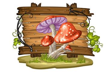 Cartoon mushroom on wood background