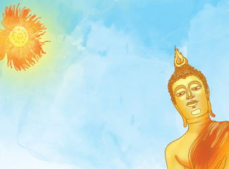 Buddha statue against a blue sky