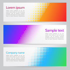 Colorful vector banners with halftone design