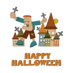 Frankenstein monster cartoon - Halloween vector illustration