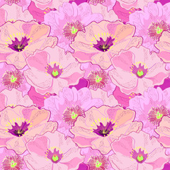 Seamless pattern with peonies. Wallpaper, print, background. Vector.