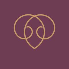 Gold monogram. Raster copy.