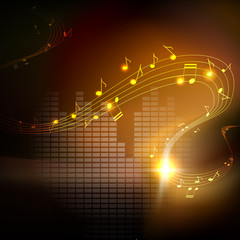 Vector musical background. Golden melodies, shiny waves of musical notes flying on dark background with equalizer