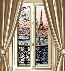 Keuken foto achterwand Art Studio Window with Eiffel tower and roofs view