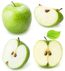 green cut apple set isolated on a white background
