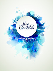 Merry Christmas hand drawn inscription on the blue abstract winter background with holiday symbols