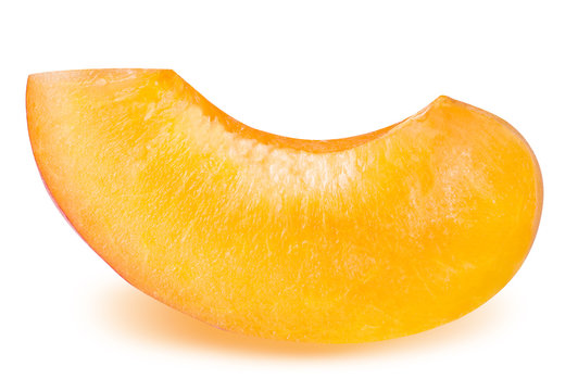 slice ripe apricot isolated on a white background