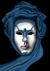 masque de carnaval de Venise. Le visage est entouré d'un turban bleu dont certains plis forment des bouches et un bras. Le nez se transforme en personnage qui semble invoquer le ciel.