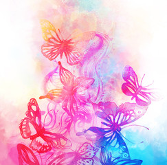 Amazing background with butterflies and flowers painted with wat