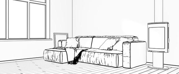 Drawings of interiors.3D rendering