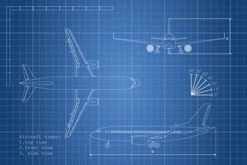 Outline drawing plane on a blue background. Top, side and front