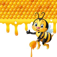 Cartoon bee holding dipper with honeycomb and honey dripping