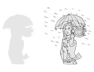 Vrouw wandelt in de regen