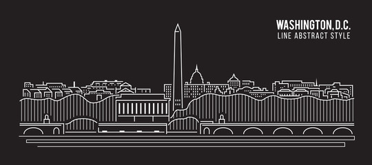 Cityscape Building Line art Vector Illustration design - Washington , D.C. city