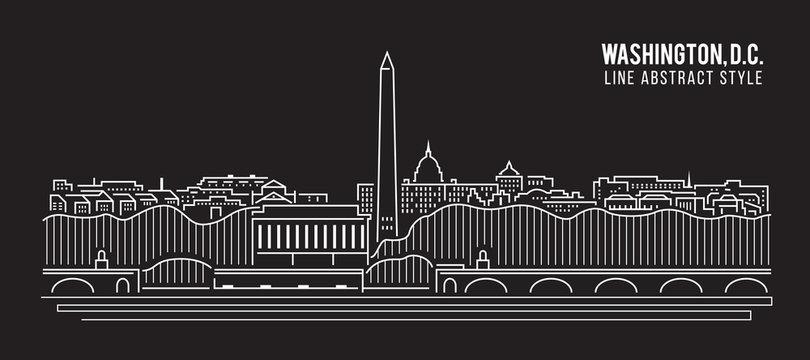 Cityscape Building Line art Vector Illustration design - Washington , D.C. city