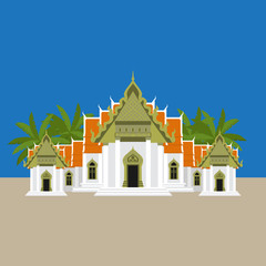 The famous marble temple Benchamabophit Dusitvanaram asian sightseen from Bangkok, Wat - buddhist temple in Thailand