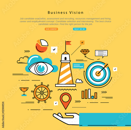 Flat Line Modern Corporate Business Vector Illustration Design And Infographic Elements For