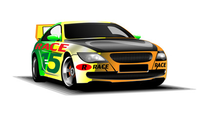 Digital vector colored sport race car, modern and realistic, front view