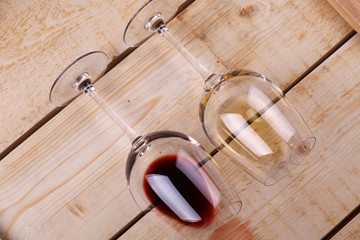 Wine glasses on wood
