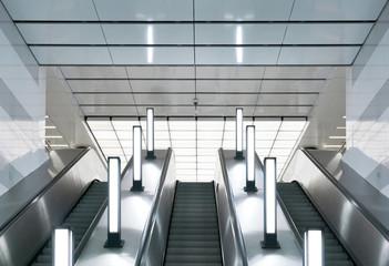 Escalator in modern urban interior