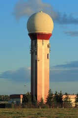 Air traffic control tower at Gdansk Rebiechowo Airport, Poland