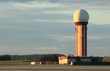 Airport of Gdansk. Air traffic controll tower.