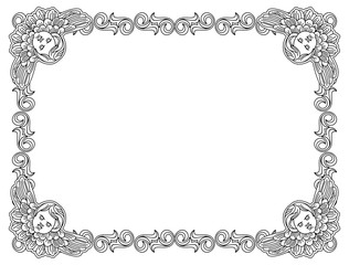 Black and white frame with outline cherub in vintage style. Vector custom element for design artworks.