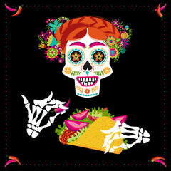 Smiling skull with taco and a hairdo decorated with various flowers. Mexican food.