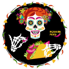 Mexican food. Scull with a hairdo decorated with various flowers and skeleton hand holding a taco.