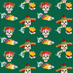 Mexican food. Smiling skulls with nachos and tacos. Seamless background pattern.
