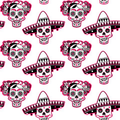 Smiling skulls with a flower decorated hairdo and sombrero. Seamless background pattern.