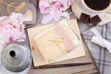 Nostalgic Retro Background of Old Letters, Post Cards, Peony